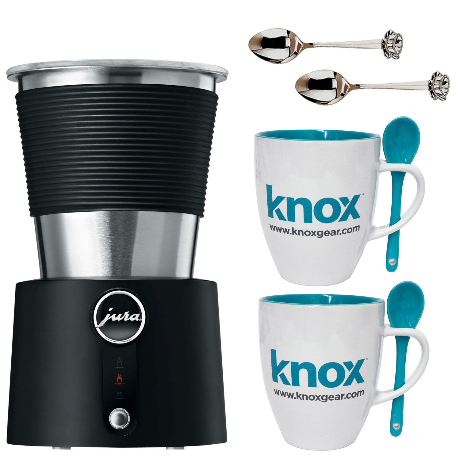 Jura Automatic Milk Frother with 2 pcs Glass Coffee mug & 2 pcs 4.5 inches spoon
