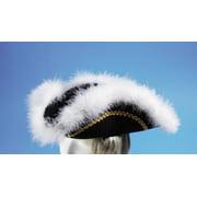 Star Power White Fur Trim Pirate Costume Hat, Black, One Size