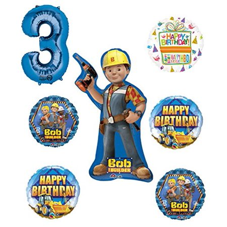Bob The Builder Construction 3rd Birthday Party Supplies and Balloon Decorations - Bomb Party