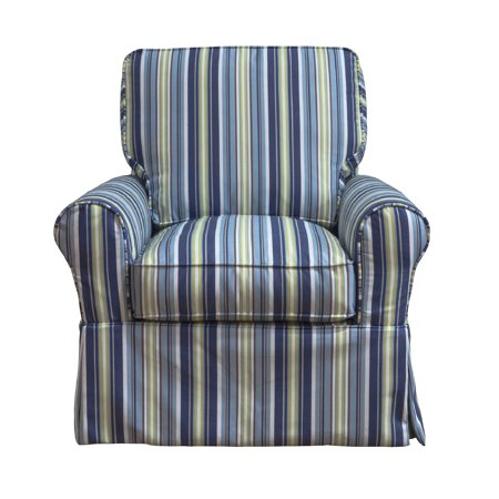 "36"" Blue and Green Beach Striped Fabric Slipcovered Swivel Rocking Chair"