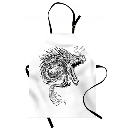 Sketch Scale (Japanese Dragon Apron Doodle Sketch Artwork Style Detailed Roaring Dragon with Scales and Tail, Unisex Kitchen Bib Apron with Adjustable Neck for Cooking Baking Gardening, Black White, by Ambesonne )