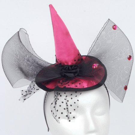 Loftus Mini Pink Bow Witch Hat Headband, Pink Black, One-Size