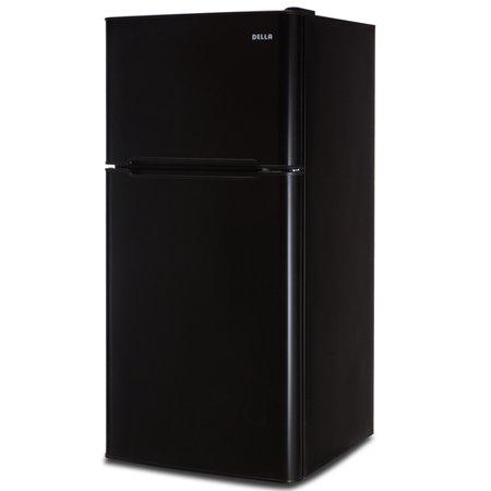 Frost Fridge Freezer - DELLA Two Door Mini FridgeFreestanding Double Reversible Door Fridge with Freezer 4.5 Cubic Feet Small Black