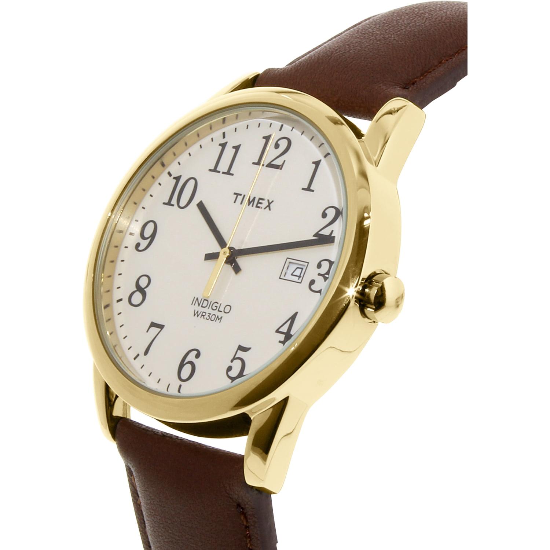 32c7526f7 Men's Easy Reader Gold-Tone Watch, Brown Leather Strap - Walmart.com