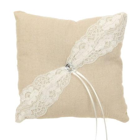 Khaki White Burlap Lace Decorated Ring Bearer Pillow