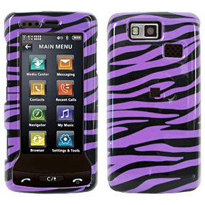 Premium Zebra Print Purple Snap On Hard Shell Case for LG Versa LX9600