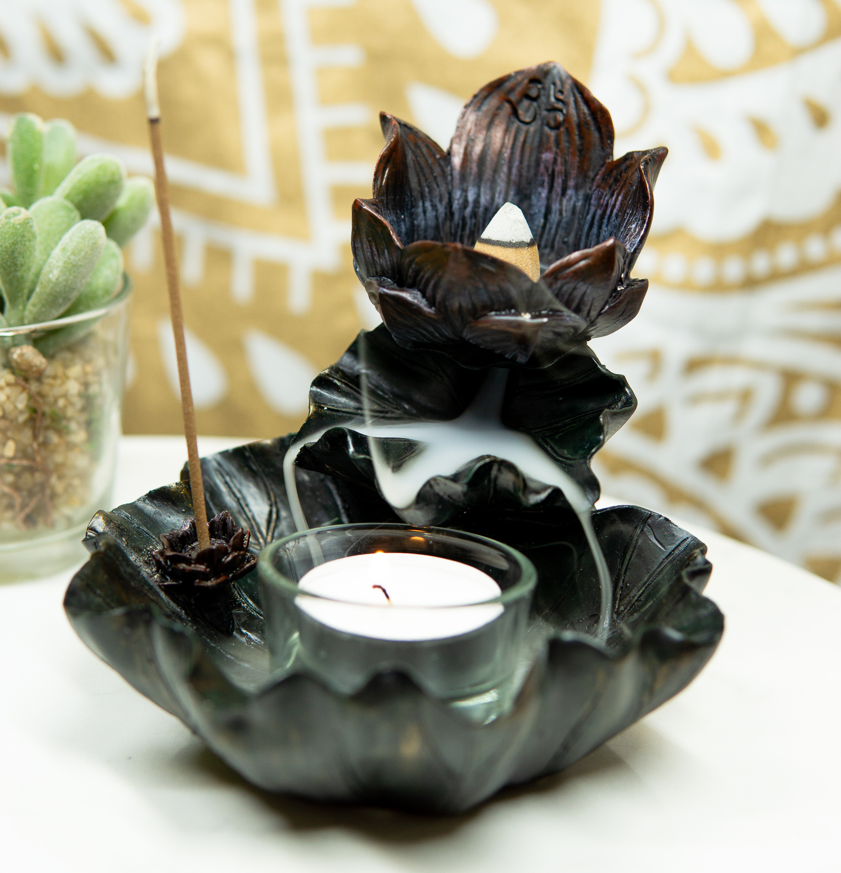 BEST Lotus THAI Incense Cones Aroma Burner Relax Home Fragrance w Cone Holder