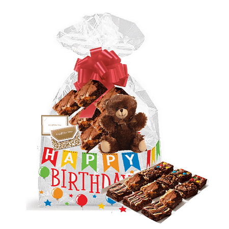 Happy Birthday Gourmet Food Gift Basket Chocolate Brownie Variety Gift Pack Box (Individually Wrapped) (Chocolate Gift Basket)