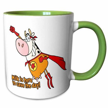 3dRose Funny Superhero Super Cow Hero Milk Is Here To Save The Day Humorous Animal Dairy Cartoon - Two Tone Green Mug, - Milk Carton Halloween Crafts