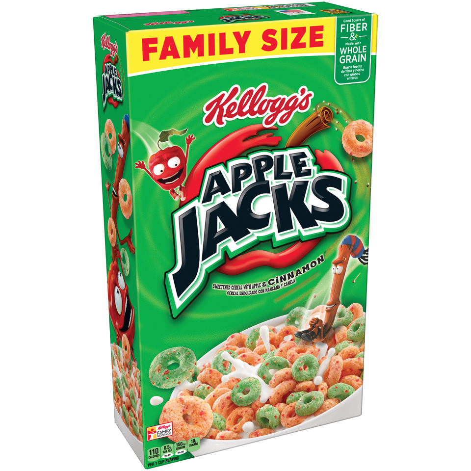 (3 pack) Kellogg's Apple Jacks Breakfast Cereal, Apples & Cinnamon, 19.4 Oz