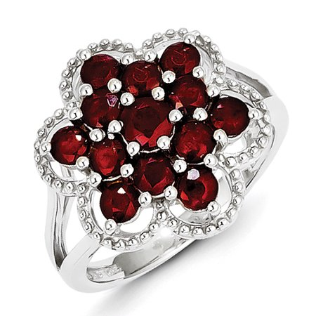 Sterling Silver Rhodium-plated Ruby Flower Ring QR4528R