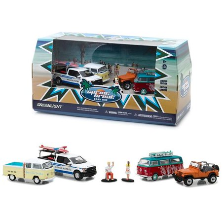 Spring Break Road Trip 6 pieces Set Multi Car Diorama with Figurines 1/64 Diecast Model Cars by - Model Car Diorama
