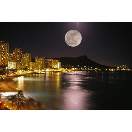 Hawaii Oahu Diamond Head Waikiki Beach Full Moon Reflecting City Lights Canvas Art - Tomas del Amo  Design Pics (34 x 22)