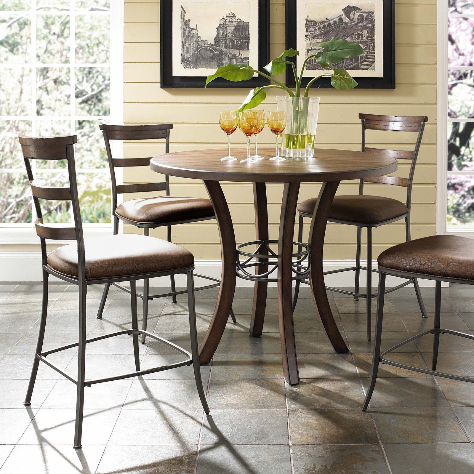 Hillsdale Cameron 5 Piece Counter Height Round Wood Dining Table Set With Ladder Back Chairs Walmart Com Walmart Com
