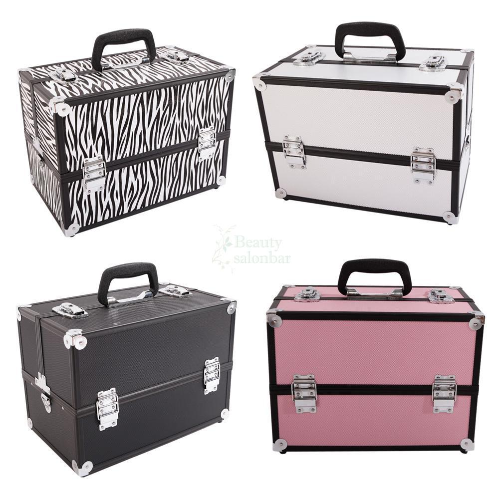 Zimtown Makeup Train Case Portable Professional Cosmetic Organizer for Artist Durable Aluminum frame with Locks and Folding Trays