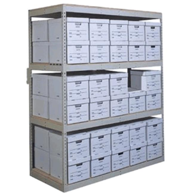 Hallowell RS4230108-5AP Rivetwell, Record Storage Shelving 42 in. W x 30 in. D x 108 in. H 729 Parchment 5 Levels