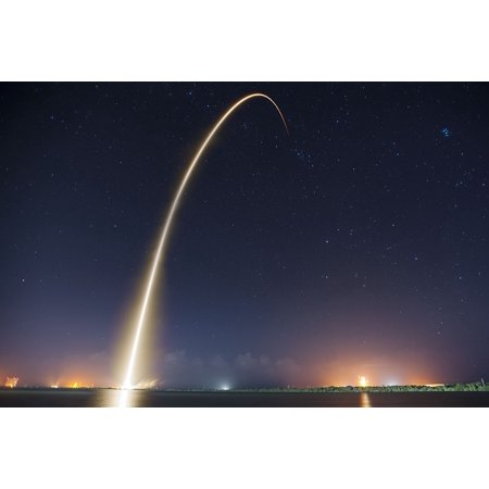 Laminated Poster Lift Off Spacex Night Trajectory Rocket Launch Poster Print 24 X 36