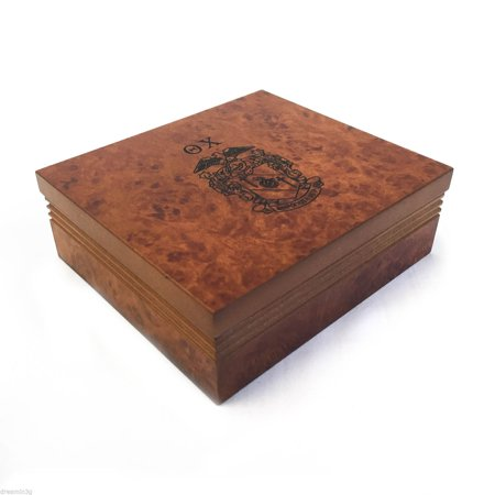 Theta Chi Brown Marble Wood Pin/Watch Box w/ Letters & Crest