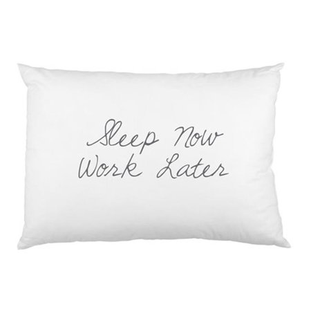 One Bella Casa 73987PCES59 Sleep Now Work Later Printed Standard Pillow Case, Grey & (Bella Pillow)