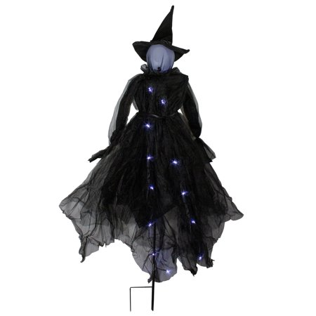 "Image of ""60"""" LED Lighted Black Witch Outdoor Halloween Decoration"""