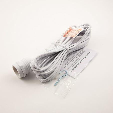 Single Socket White Weatherproof Outdoor Pendant Light Lamp Cord, 15FT