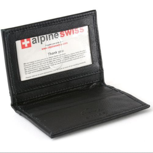 Alpine Swiss Thin Front Pocket Wallet Business Card Case 2 ID Window 6 Card Slot Black One Size