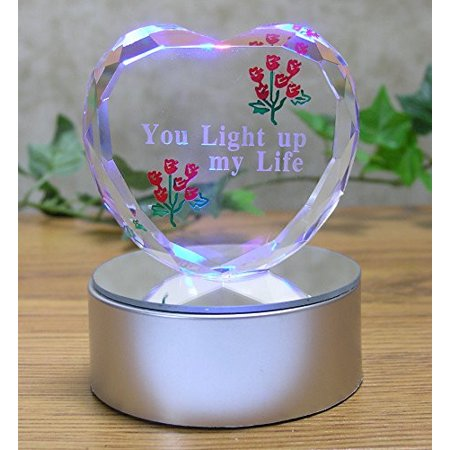 Light Up Glass Heart - You Light Up My Life - Red Roses Etched into Glass - LED Color Changing Silver Base - Mom Gifts - Gifts for Her