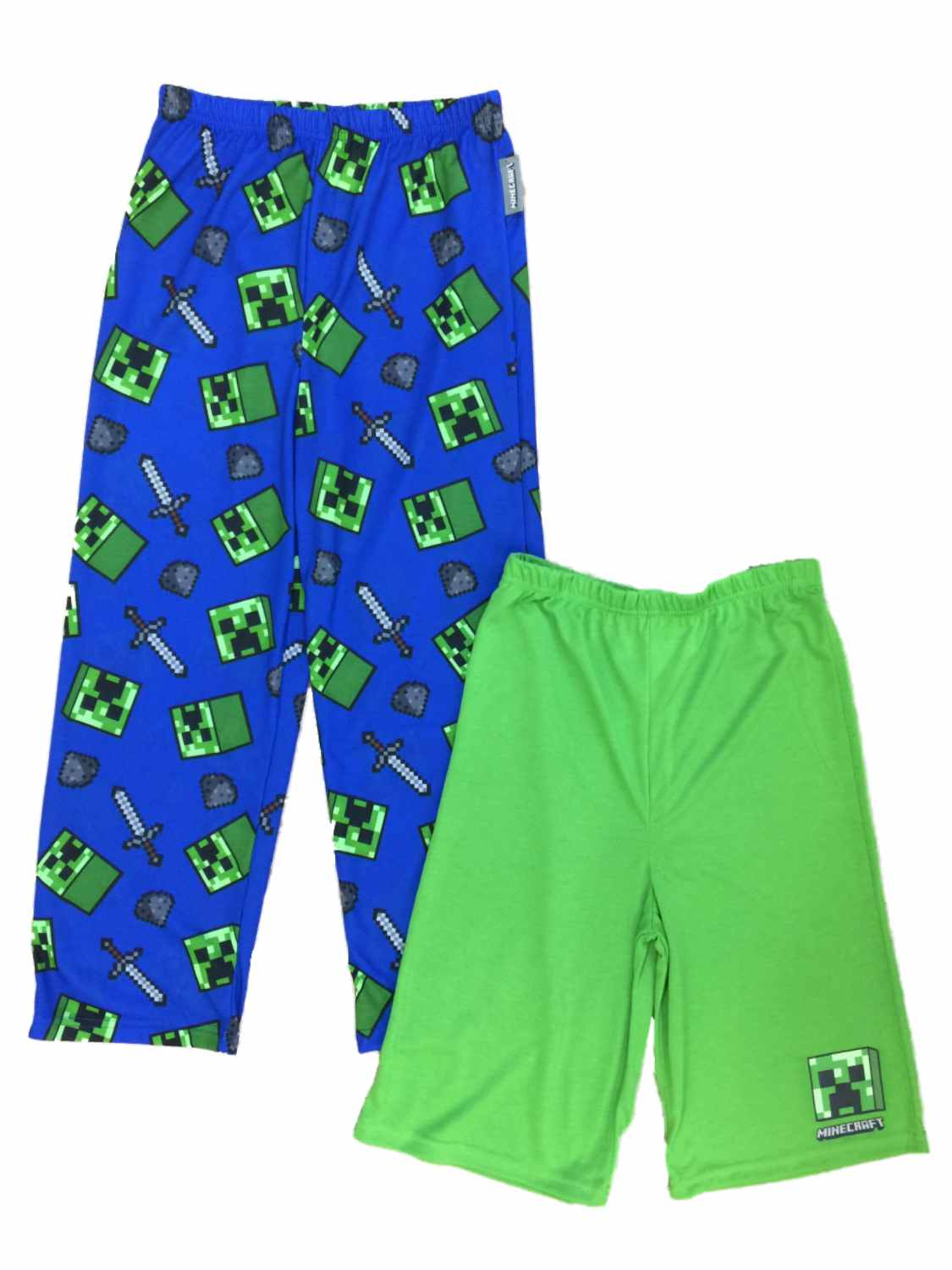 Boys Minecraft Pajama Bottoms Lounge Pants & Sleep Shorts Set Mine Craft