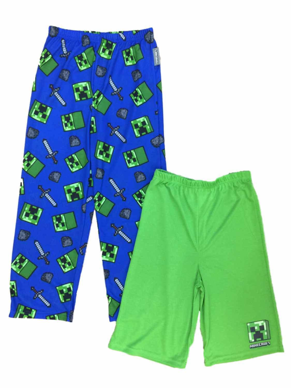 Boys Minecraft Pajama Bottoms Lounge Pants & Sleep Shorts Set Mine Craft