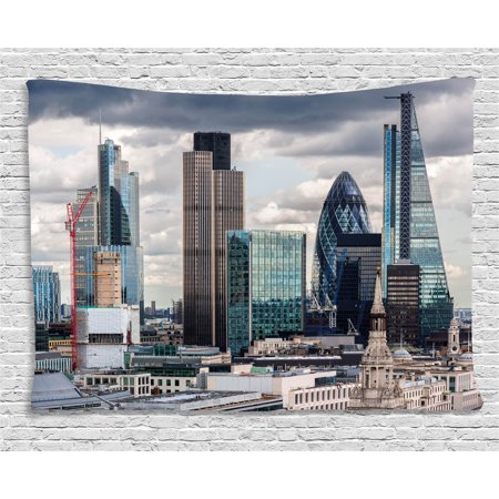 (Urban Tapestry, London England Skyline Buildings and Skyscrapers and Cloudy Sky Modern Capital City, Wall Hanging for Bedroom Living Room Dorm Decor, 60W X 40L Inches, Multicolor, by Ambesonne)