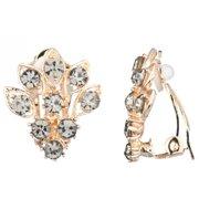 Emitations  Goldtone Grey Cluster Clip-on Earrings