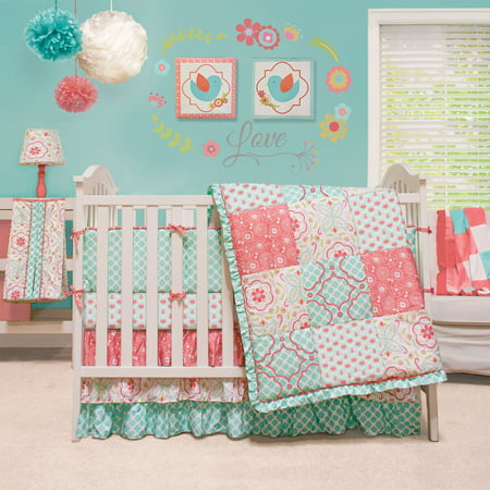 The Peanut Shell Baby Girl Crib Bedding Set - Coral and Aqua - Mila 4 Piece Set