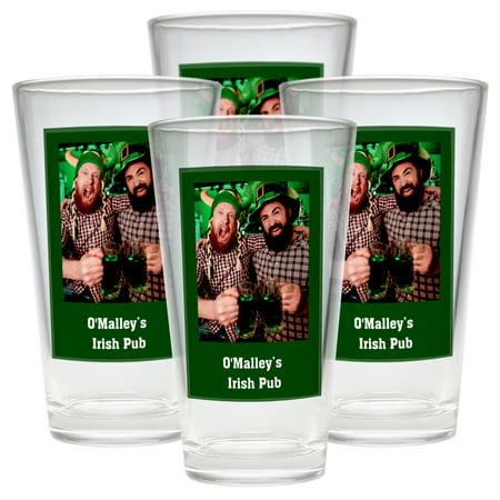 Personalized Photo Message Pub Glass - Set of 4 - Single Personalized Photo - Green (Personalized Shot Glass)