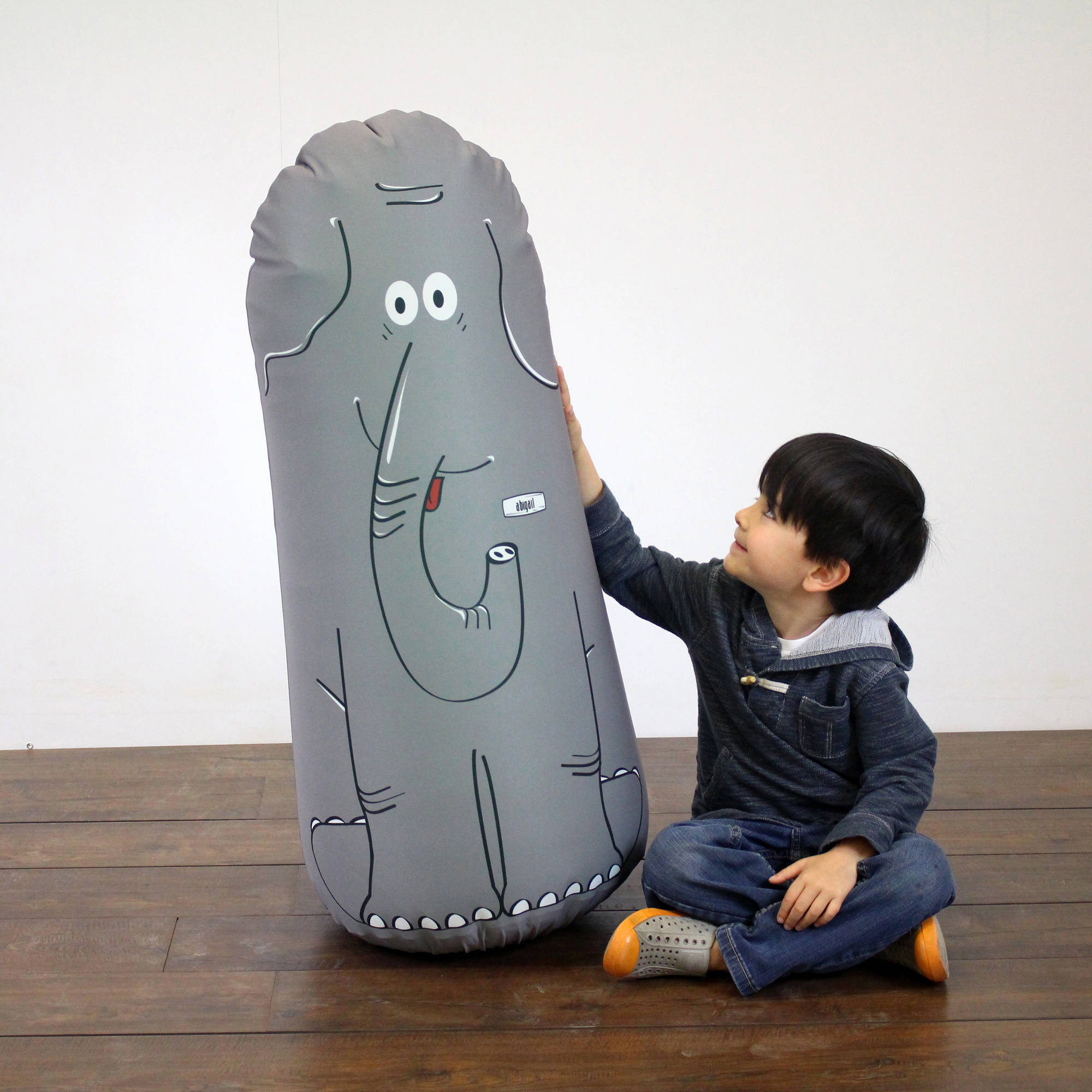 Pueri Elemental LLC Kid Tough Fitness Inflatable Free - Standing Punching Bag + Machine Washable Fabric Cover Abigail Elephant Kids Workout Buddy by Bonk Fit