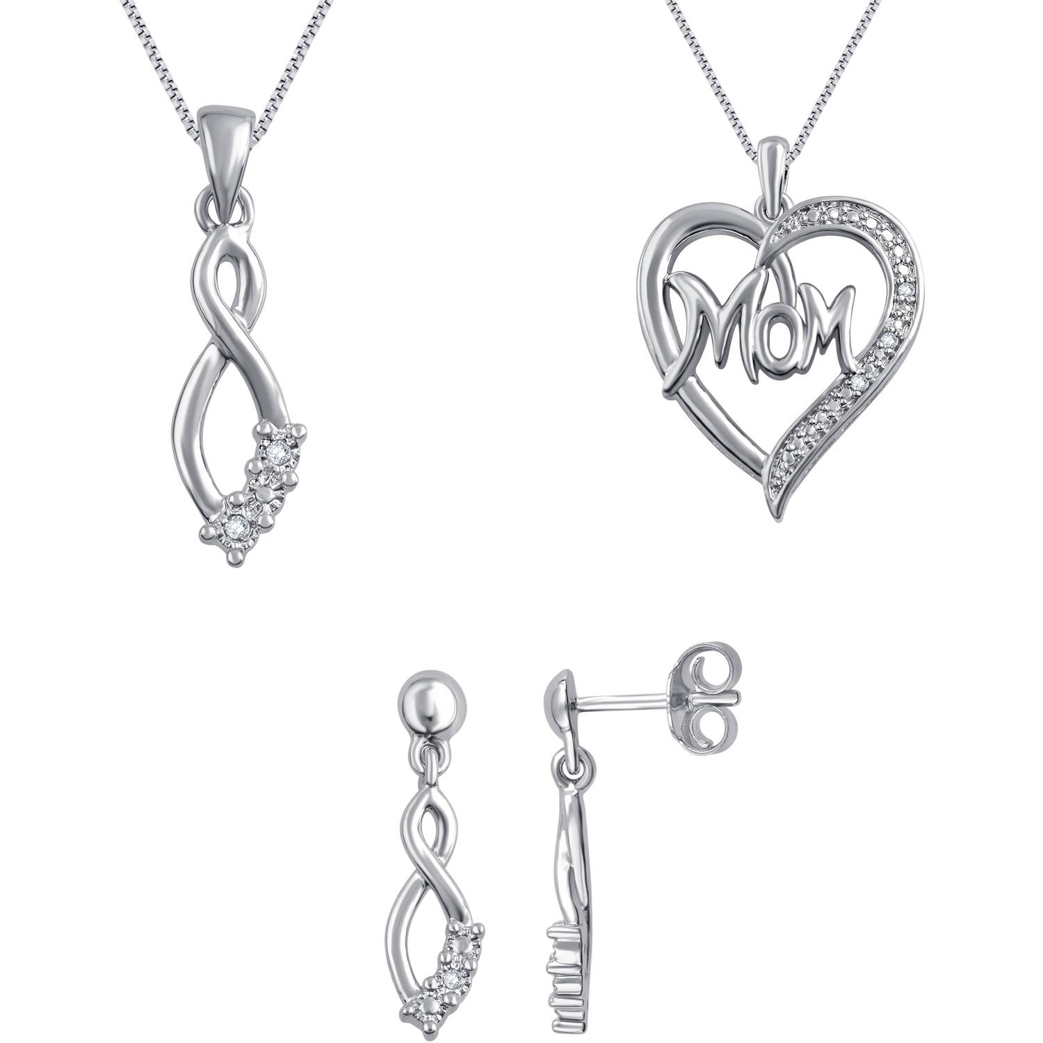 """18kt White Gold-Plated Brass Diamond Accent 3-Piece Fashion Jewelry Set with Heart """"MOM"""" Pendant, Infinity Earrings and Pendant"""