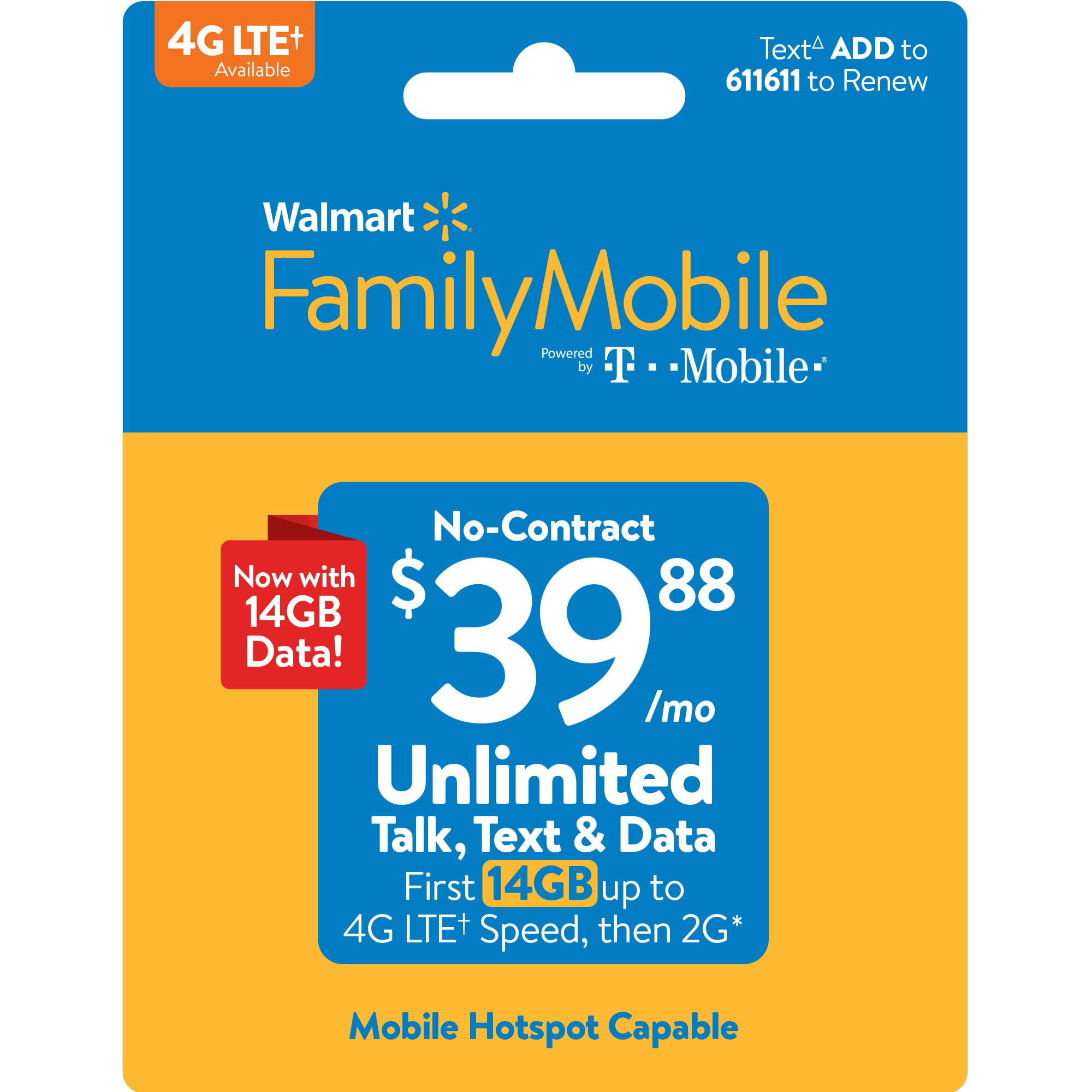 Walmart Family Mobile $39 88 Unlimited Monthly Plan (with up to 14GB of  data at high speed, then 2G*) w Mobile Hotspot Capable (Email Delivery)