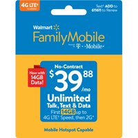 Walmart Family Mobile $39.88 Unlimited Monthly Plan (with up to 14GB of data at high speed, then 2G*) w Mobile Hotspot Capable (Email Delivery)