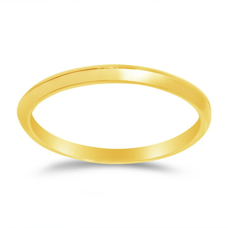 Solid 14k Yellow Gold 2mm Plain Classic Traditional Knife Edge Anniversary Ring Wedding Band , Size 7