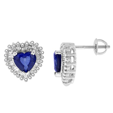 2.28 ct.t.w.Genuine Sapphire and Baguette Diamond Heart Earrings 14Kt White Gold