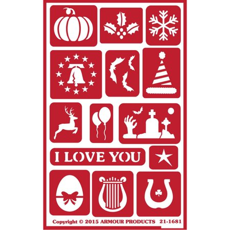 """Over 'N' Over Reusable Stencils 5""""X8""""-Holiday Assorted - image 1 de 1"""