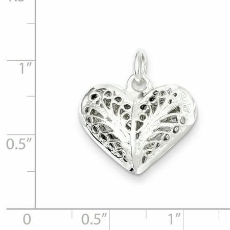 Sterling Silver Filigree Heart Charm QC585 (15mm x 20mm) - image 1 de 2