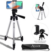 """Acuvar 50"""" Inch Aluminum Camera Tripod and Universal Smartphone Mount For all iPhone, Samsung and Most Smartphones"""