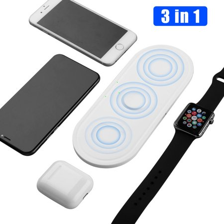 Wireless Charging Pad - 3 in 1 Multiple Devices Charging Station - Qi Fast Wireless Charger Mat Compatible with Airpods Apple Watch Series 5 4 3 2 iPhone 11 Pro Max 11 Xs Max X Xr Galaxy S10  Note 10