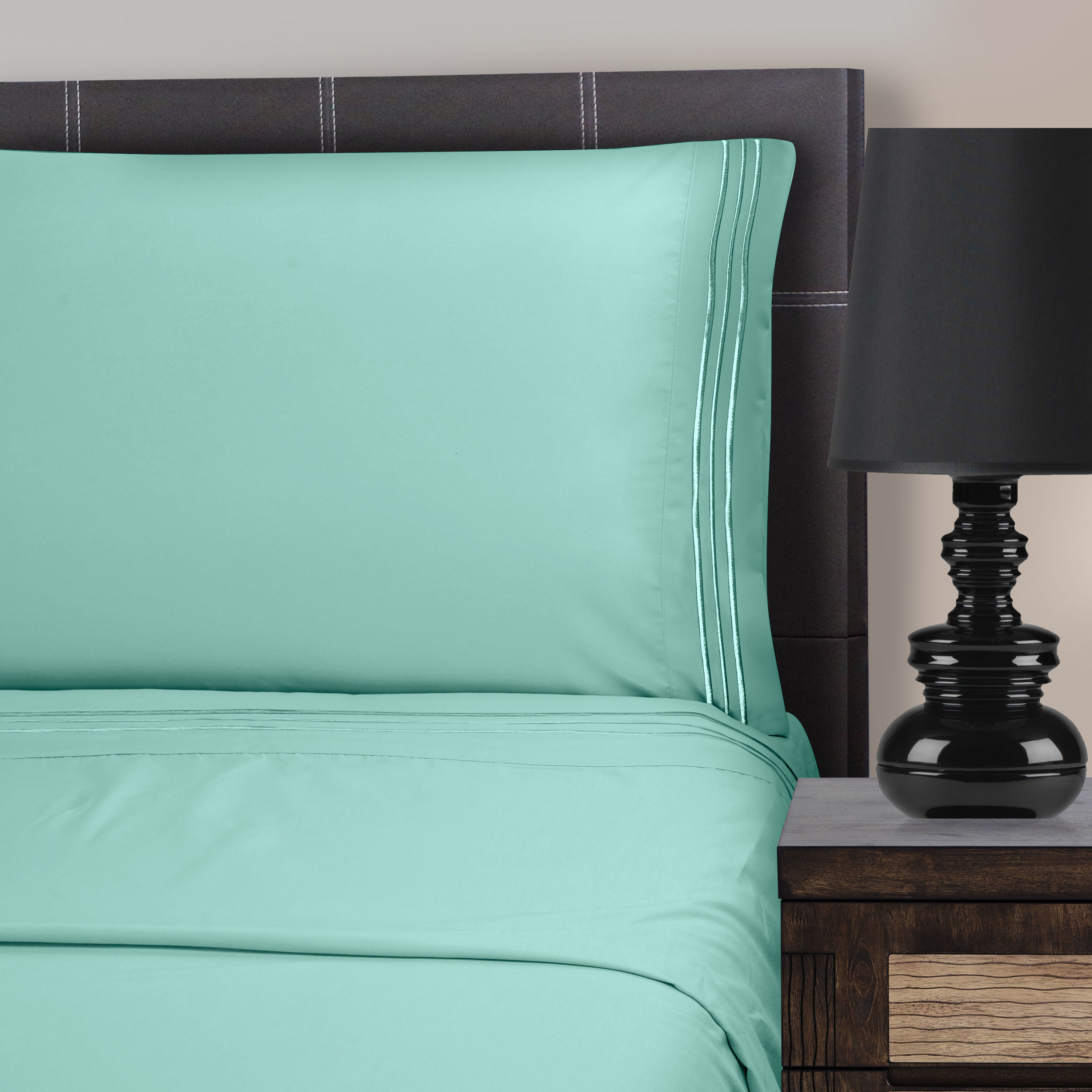 Superior Light Weight and Super Soft Brushed Microfiber, Wrinkle Resistant Sheet Set with 3-Line Embroidery
