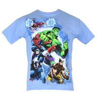 Marvel Comics Mens T-Shirt -  Attacking Hulk, Magneto, Spidey, Wolvy, and Cap