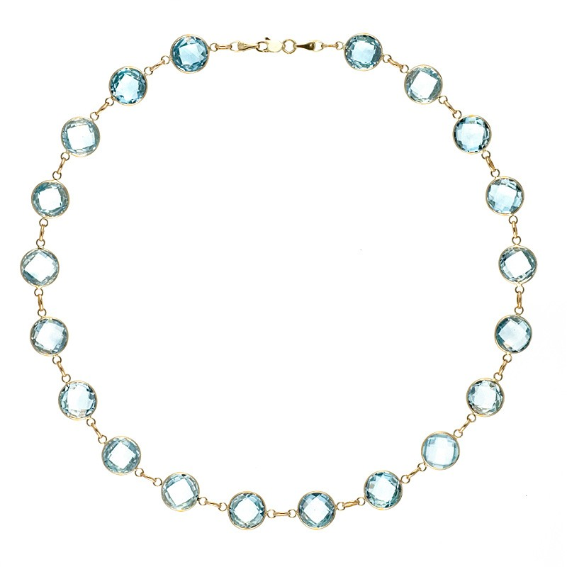 14k Yellow Gold Blue Topaz 10mm Bead Strand Necklace Length: 16 to 34 by