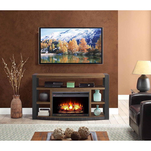 "Santa Fe Media Electric Fireplace for TVs up to 65"", Brown"