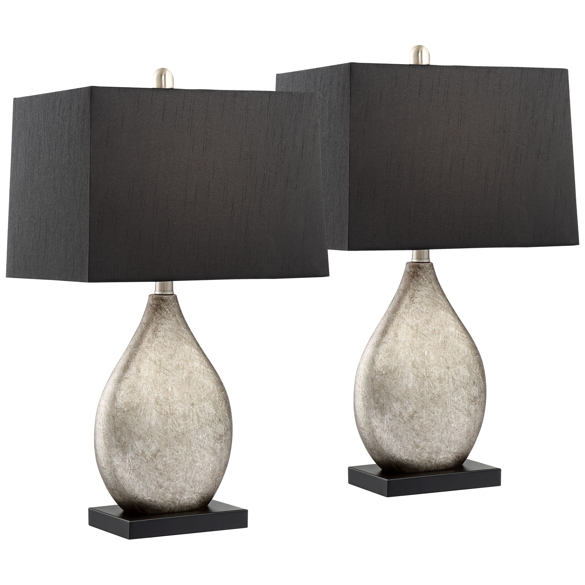 Regency Hill Modern Table Lamps Set Of 2 With Black Rectangular Shade For Living Room Family Bedroom Bedside Nightstand Office