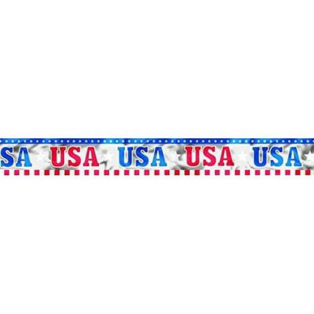 Amscan Sparkling Patriotic Metallic Banner, 9', Multicolor