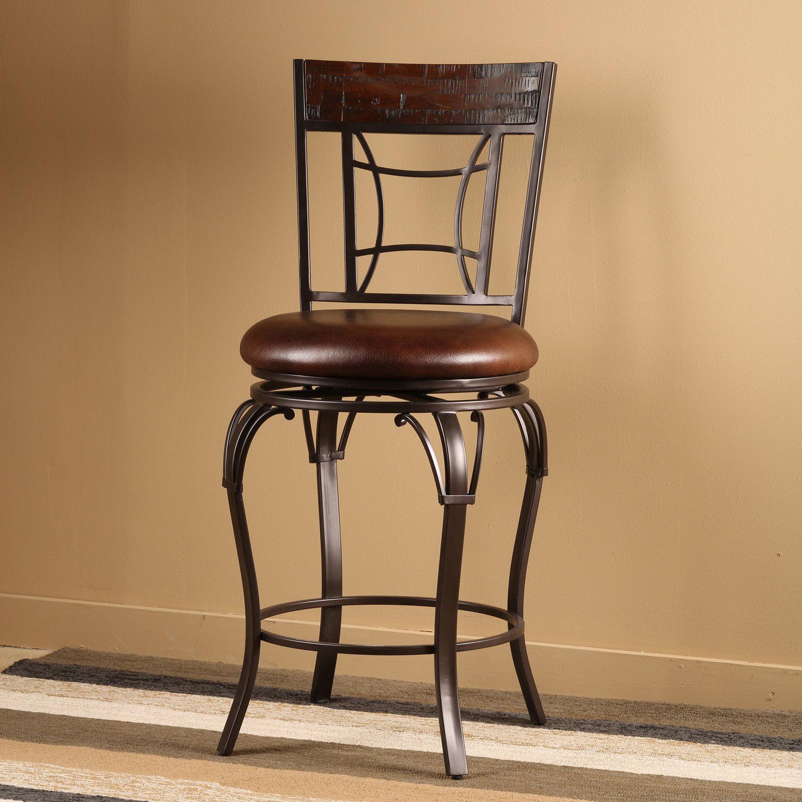 "Hillsdale Furniture Granada 41.75"" Swivel Counter Stool, Dark Chestnut Finish Wood/Brown Finish Metal"